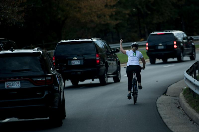 This photo of Juli Briskman giving President Donald Trump's motorcade the finger on October 28 cost her her job, the mother has said.