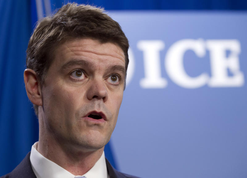 FILE - In this Jan. 3, 2013 file photo, U.S. Immigration and Customs Enforcement (ICE) Director John Morton speaks during a news conference at ICE headquarters in Washington. In February, 2013 the government let go of hundreds of immigrants from detention centers in states including Arizona, California, Florida, Georgia and Texas as the government prepared for looming cuts that began in March. ( AP Photo/Jose Luis Magana, File)