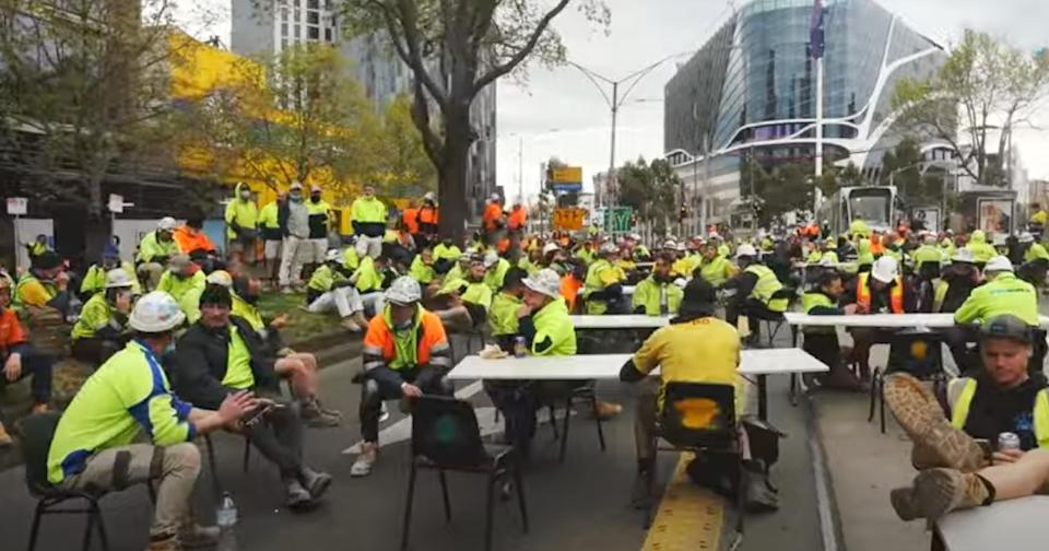 Construction workers took their lunch to the streets on Friday. Source: Twitter