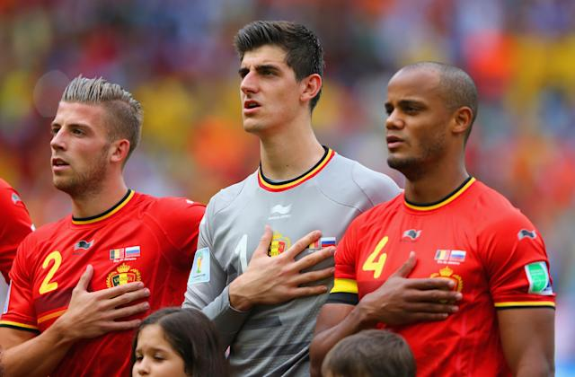 Vincent Kompany, Thibaut Courtois and Toby Alderweireld will all feature for Belgium at the 2018 World Cup. They also all feature in the back half of our top 100. (Getty)