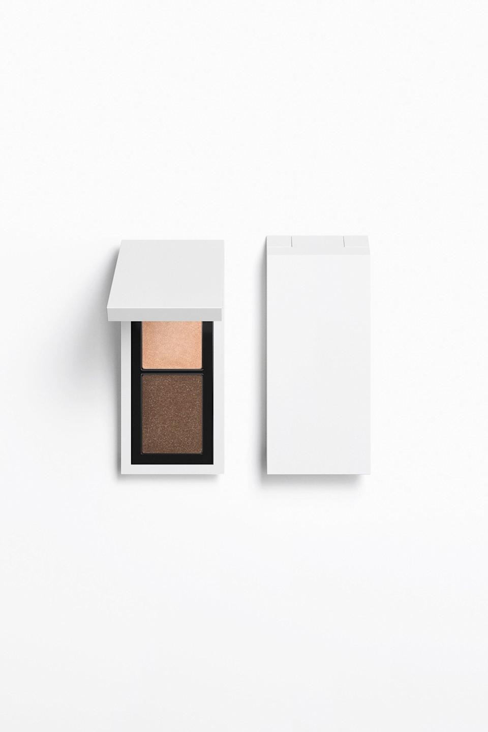 """<h3>Eye Color In 2 Duo Eyeshadow</h3><br>If you know you'll never touch half the colors in a six-pan palette, this smaller two-shade eyeshadow compact might be more your speed.<br><br><strong>Zara</strong> Eye Color In 2 Duo Eyeshadow - Refillable, $, available at <a href=""""https://go.skimresources.com/?id=30283X879131&url=https%3A%2F%2Fwww.zara.com%2Fus%2Fen%2Feye-color-in-2-duo-eyeshadow---refillable-p24130700.html"""" rel=""""nofollow noopener"""" target=""""_blank"""" data-ylk=""""slk:Zara"""" class=""""link rapid-noclick-resp"""">Zara</a>"""