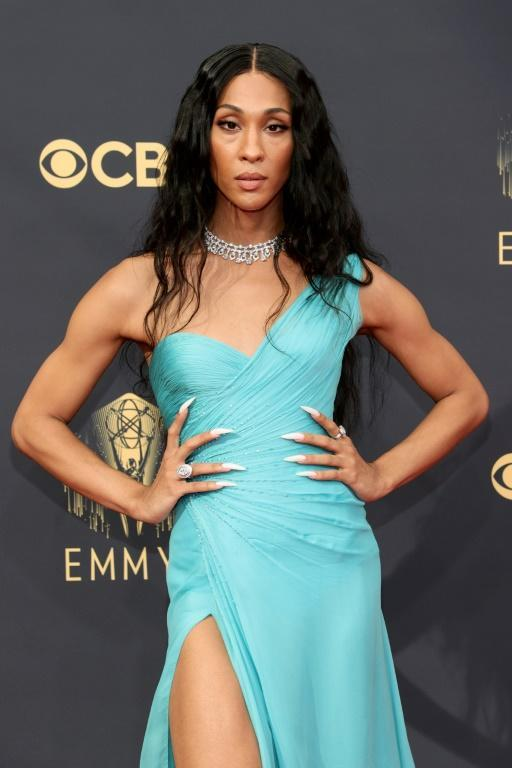 'Pose' star Mj Rodriguez rocks a turqouise Versace gown at the Emmys (AFP/Rich Fury)