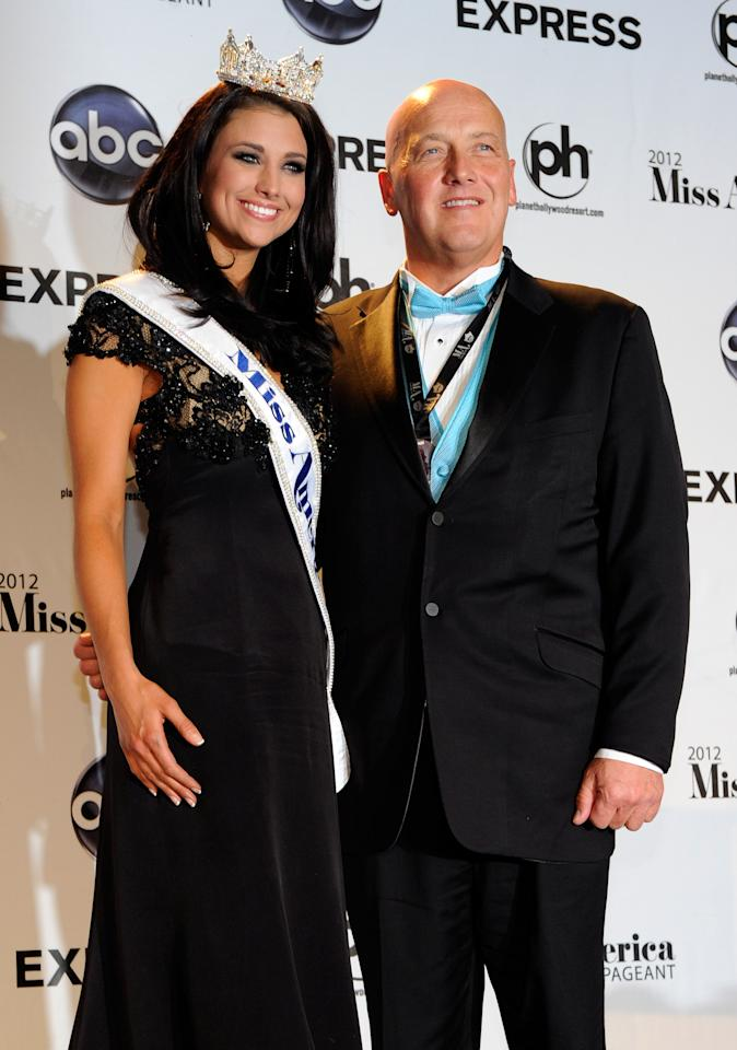 LAS VEGAS, NV - JANUARY 14:  Laura Kaeppeler (L), Miss Wisconsin, poses with her father Jeff Kaeppeler during a news conference after she was named the new Miss America during the 2012 Miss America Pageant at the Planet Hollywood Resort & Casino January 14, 2012 in Las Vegas, Nevada.  (Photo by Ethan Miller/Getty Images)