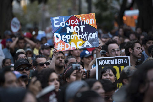 <p>DACA supporters protest the Trump administrations termination of the Deferred Action for Childhood Arrivals program. Los Angeles, Calif., on Sept. 5, 2017. (Photo: Ronen Tivony/NurPhoto via Getty Images) </p>