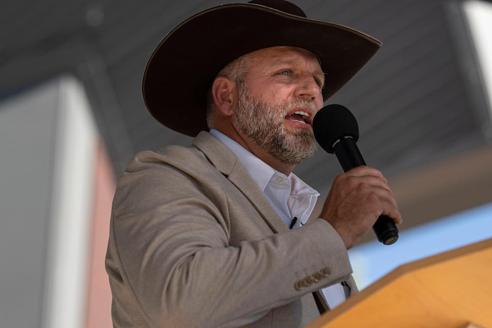 Ammon Bundy announces his candidacy for governor of Idaho during a campaign event on June 19, 2021 in Boise, Idaho. (Getty Images)
