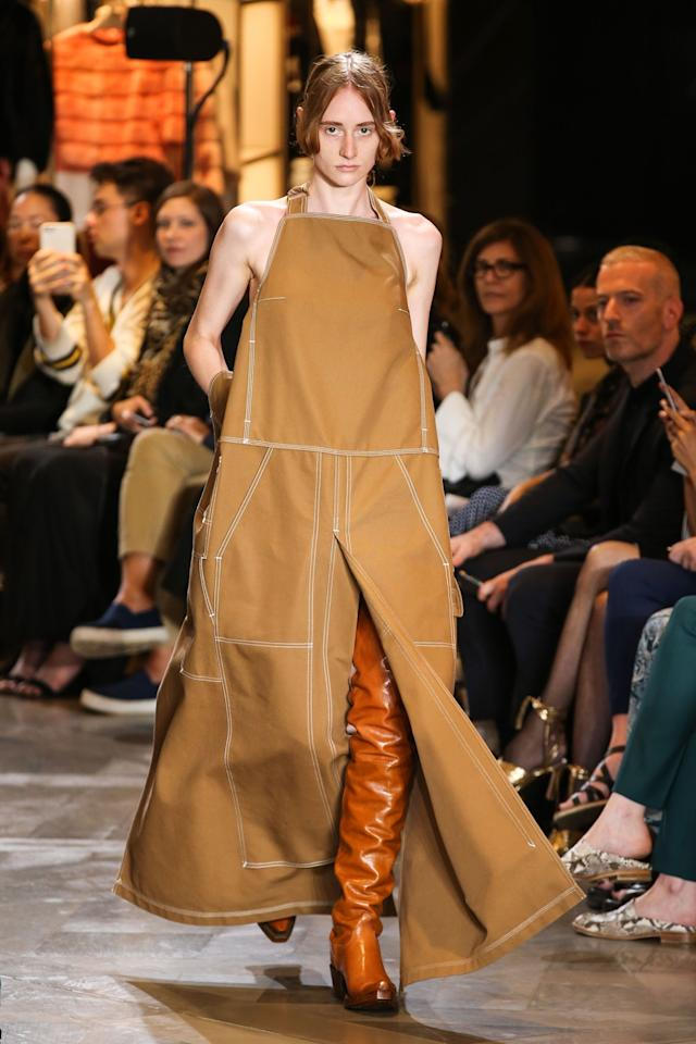 <p>Like me in grade school but without the frightening overnight changes in hair and complexion, boots this year stretched out to the knee or higher, thanks largely in part to Balenciaga and Vetements, pictured here. Hard to get on, but easy to go out not wearing pants, as many celebrities showed. </p>