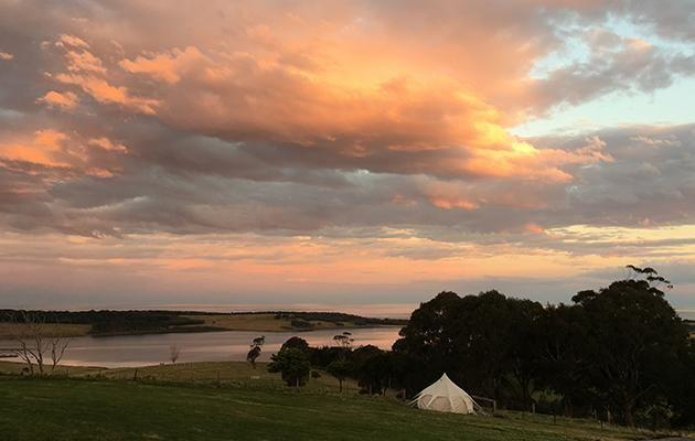 Tilba Lake Camp offers luxe camping with delicious local food hampers. Source: Supplied