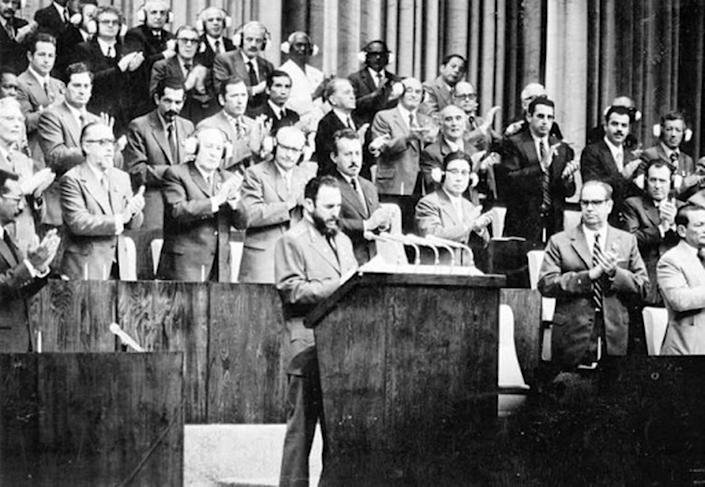 Fidel Castro led Cuba's Communist Party from its creation in 1965 until 2011 when his brother Raúl became first secretary. In this photo Castro is seen giving a speech at the first party congress in 1975.