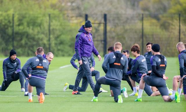 "<span class=""element-image__caption"">Swansea's manager Paul Clement keeps his players on their toes during training this week at the Fairwood base.</span> <span class=""element-image__credit"">Photograph: Athena Pictures/Getty Images</span>"