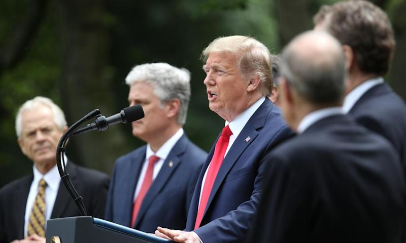 Donald Trump speaks in the Rose Garden at the White House on 29 May.