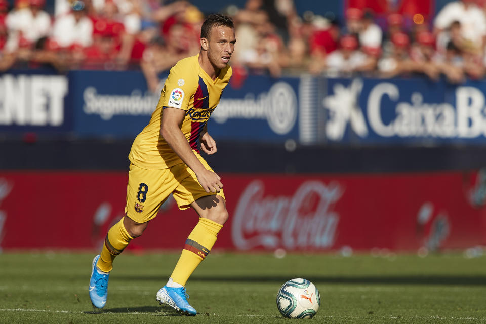 PAMPLONA, SPAIN - AUGUST 31: Arthur Melo of FC Barcelona in action during the Liga match between CA Osasuna and FC Barcelona at Estadio El Sadar on August 31, 2019 in Pamplona, Spain. (Photo by Quality Sport Images/Getty Images)