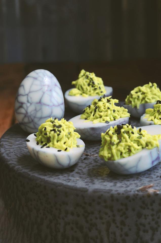 "<p>This uber-creative (and strangely pretty!) take on deviled eggs will be the talk of your party. </p><p><a class=""body-btn-link"" href=""https://familyspice.com/spider-eggs-avocado-wasabi-deviled-eggs/"" target=""_blank"">GET THE RECIPE</a></p>"