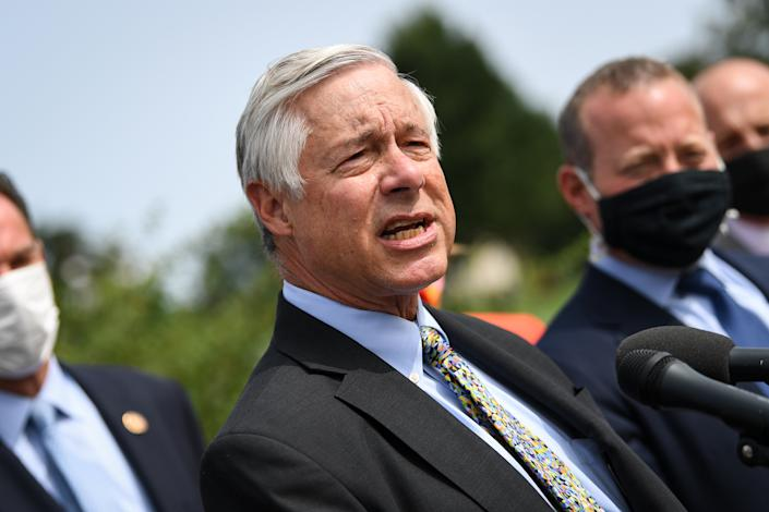 Rep. Fred Upton, R-Mich. speaks during a news conference to unveil the March to Common Ground, a COVID-19 relief package, at the House Triangle on Sept. 15, 2020. (Caroline Brehman/CQ-Roll Call, Inc via Getty Images)