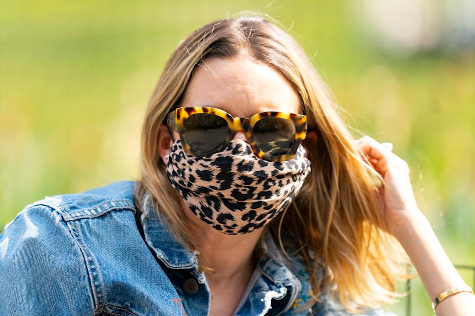 NEW YORK, NEW YORK - APRIL 25:  A woman is seen wearing a protective face mask during the coronavirus (COVID-19) pandemic in Washington Square Park on April 25, 2020 in New York City. (Photo by Gotham/Getty Images)