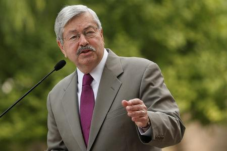 Newly appointed U.S. Ambassador to China Terry Branstad speaks to the media in front of his residence in Beijing