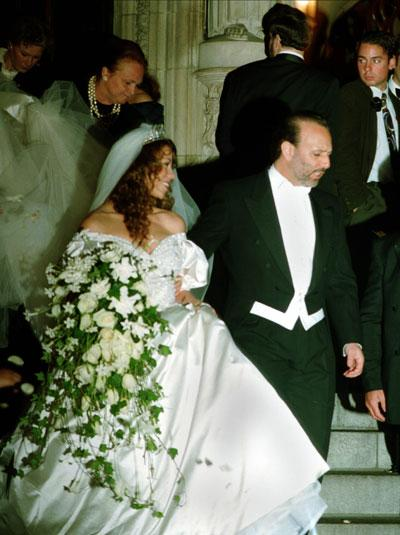Mariah Carey: June 1993: Mariah Carey's first marriage was to record label executive Tommy Mottola. Mariah's big princess-like gown had a significant impact on Vera Wang's fashion designer status, and since then she has become the go-to gal for bridal designs. Photo P.A