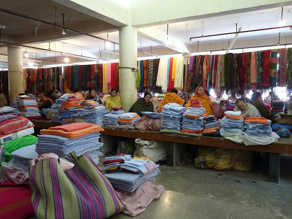 A view of the section selling cloth and textiles in Ima Market in Imphal, Manipur.