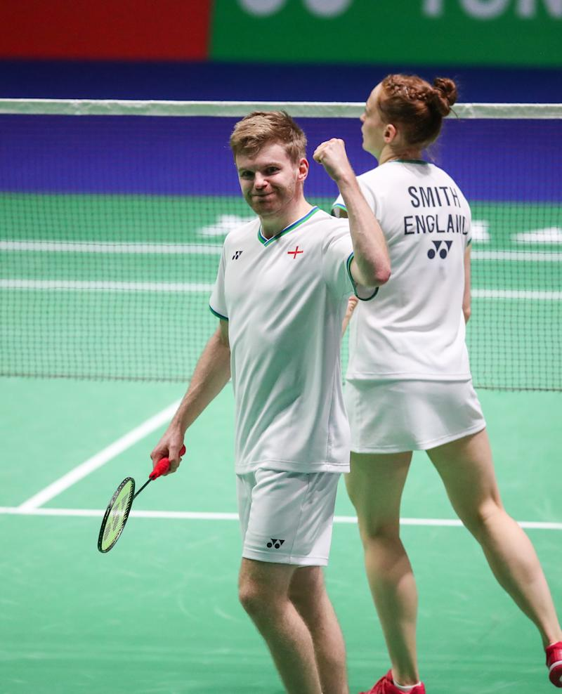 Marcus Ellis celebrated a pair of brilliant successes as he marched into the quarter-finals of both the men's and mixed doubles
