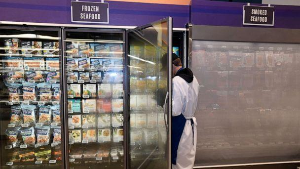 PHOTO: A store employee works in the frozen seafood section at a Whole Foods in Long Beach, Calif., Oct. 22, 2019. (Long Beach Press/MediaNews Group via Getty Images, FILE)