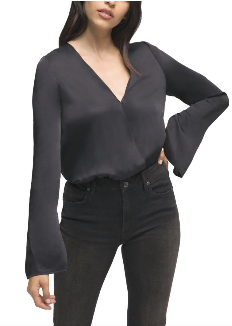 <p>Name one thing you can't pair this <span>Good American Wrap Front Long Sleeve Satin Bodysuit</span> ($46, originally $115) with? We'll wait.</p>