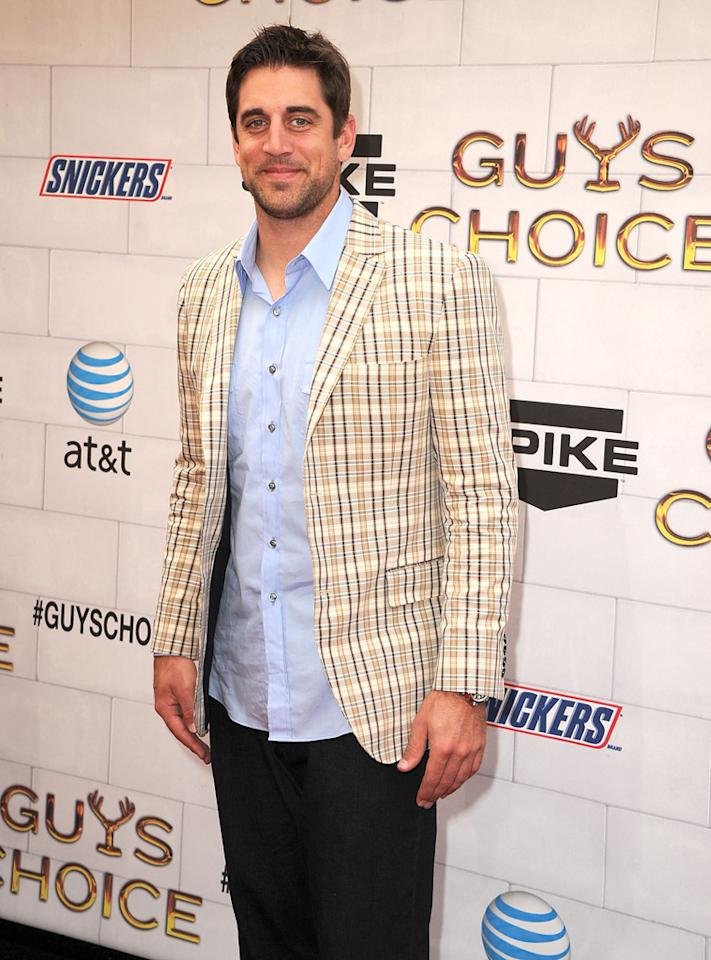 "Aaron Rodgers attends Spike TV's 6th Annual ""Guys Choice"" Awards at Sony Studios on June 2, 2012 in Los Angeles, California."