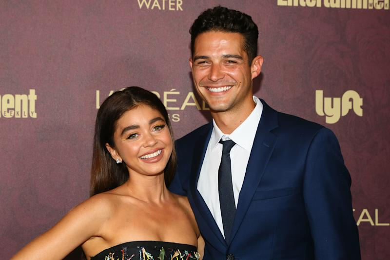 Sarah Hyland and fiancé Wells Adams (pictured in 2018) planned to get married on Aug. 8. (Photo: Gabriel Olsen/Getty Images)