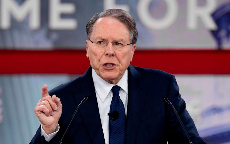 The NRA's chief executive Wayne LaPierre was singled out - AFP