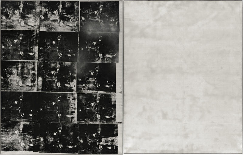 """FILE - This Oct. 4, 2013 photo provided by Sotheby's shows """"Silver Car Crash (Double Disaster)"""" by Andy Warhol. The silkscreen print with multiple photos of the aftermath of a car which collided into a tree measures 8 feet by 13 feet and is part of Warhol's """"Death and Disaster"""" series. The work is scheduled for auction at Sotheby's on Nov. 13, 2013. (AP Photo/Sotheby's, File)"""