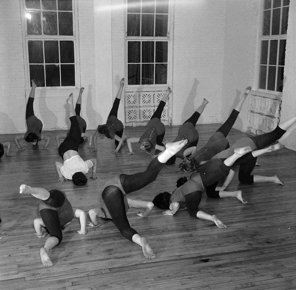 <p>Women also began wearing comfortable clothes like leggings and leotards while in fitness classes. This image shows a group of women in a class in New York taught by Bonnie Prudeen, director of the Institute of Physical Fitness in White Plains. <br></p>