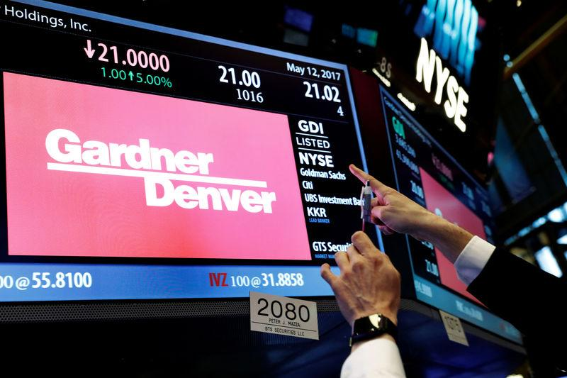 Trading information for Gardner Denver is displayed on a screen during the company's IPO on the floor of the NYSE in New York