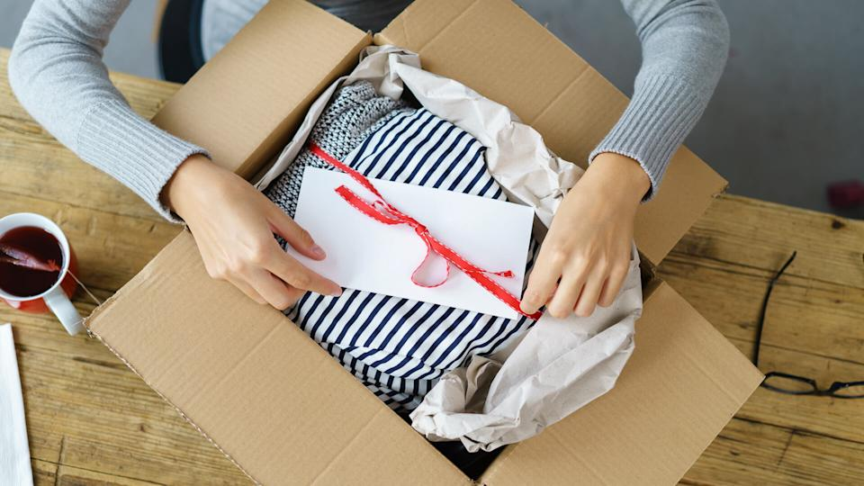 woman shipping gift with gift receipt