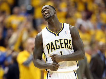 Lance Stephenson celebrates a Pacers bucket during their win over the Knicks. (AP)