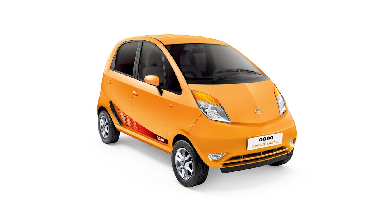 Tata Nano makes this festive season special with the Nano Special Edition, with a bouquet of new features – of stylish exteriors, new utilities and infotainment. The features are - new alloy wheels and sportier brand new decails, two glove boxes, a stylish audio system- with MP3, USB, Aux-in and front two door speakers.
