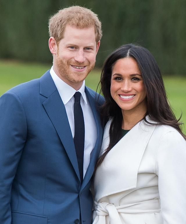 Prince Harry and Meghan Markle during an official photocall to announce their engagement on Nov. 27, 2017. (Photo by Samir Hussein/Samir Hussein/WireImage)