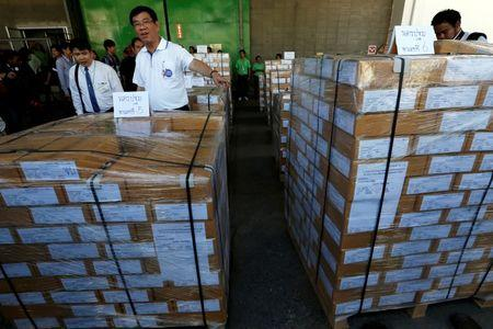 Thailand's Election Commissioner Somchai Srisutthiyakorn inspects boxes of ballot papers to be sent to central provinces, ahead of the August 7 referendum at a printing office in Samut Prakan province on the outskirts of Bangkok, Thailand, July 25, 2016. REUTERS/Chaiwat Subprasom
