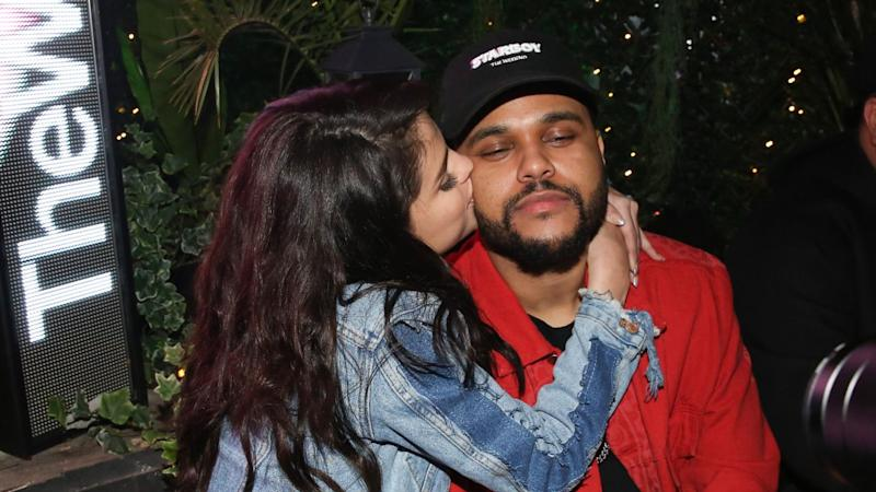 Selena Gomez Cozies Up to The Weeknd in Paris, Sweetly Kisses Him on the Cheek -- See the Pic!
