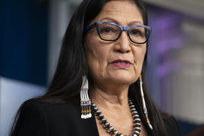 FILE - In this April 23, 2021, file photo, Interior Secretary Deb Haaland speaks during a news briefing at the White House in Washington. Haaland says the Biden administration will hold lease sales for up to seven offshore wind farms on the East and West coasts and in the Gulf of Mexico in the next four years. The projects are part of the administration's plan to deploy 30 gigawatts of offshore wind energy by 2030, generating enough electricity to power more than 10 million homes.(AP Photo/Evan Vucci, File)