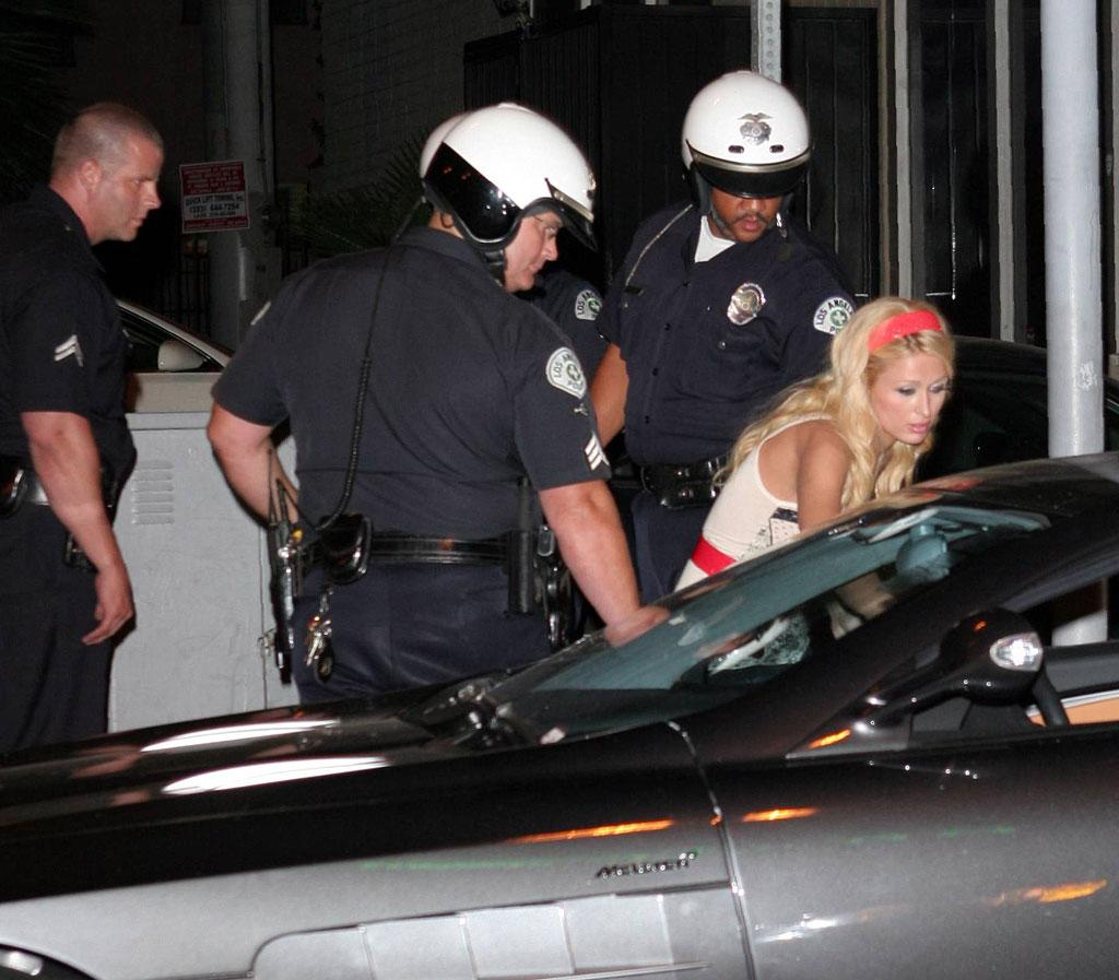 "Paris Hilton is pulled over by the cops. RCRSJ/<a href=""http://www.x17online.com"" target=""new"">X17 Online</a> - September 7, 2006"