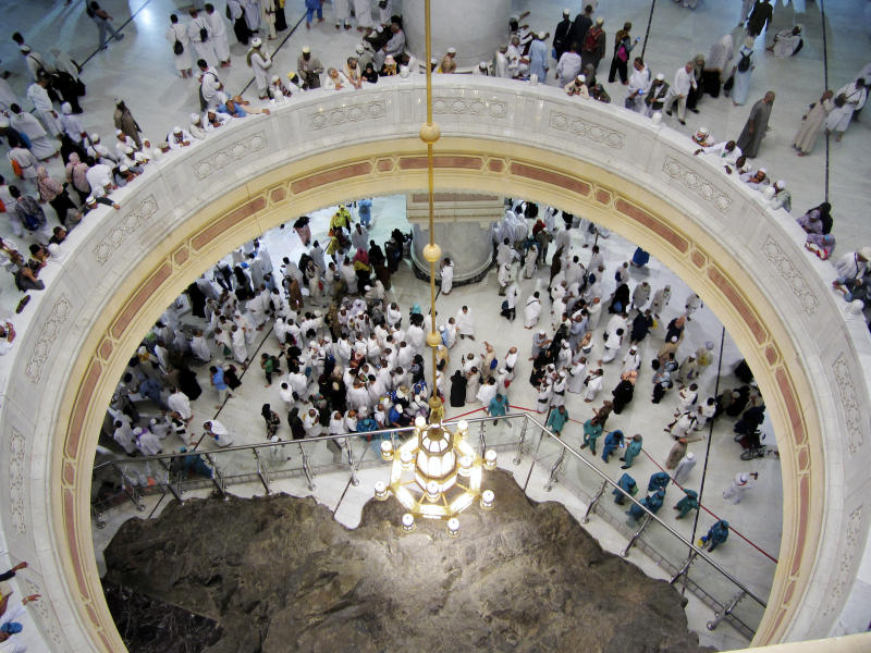 "FILE - In this Aug. 9, 2019 file photo pilgrims pray near the Al-Safa mountain, at the Grand Mosque, during the Hajj pilgrimage in the Muslim holy city of Mecca, Saudi Arabia. Saudi Arabia said Tuesday, June 22, 2020 this year's hajj will not be canceled, but that due to the coronavirus only ""very limited numbers"" of people will be allowed to perform the pilgrimage that traditionally draws around 2 million people from around the world to Mecca once a year. (AP Photo/Amr Nabil, file)"