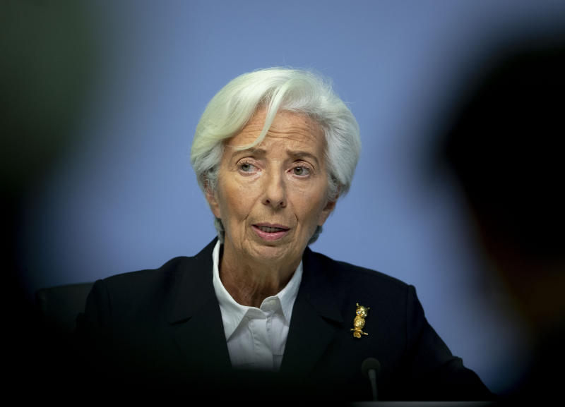 President of European Central Bank Christine Lagarde speaks during a press conference following a meeting of the governing council in Frankfurt, Germany, Thursday, Jan. 23, 2020. (AP Photo/Michael Probst)