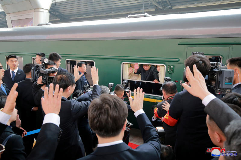 North Korean government North Korean leader Kim Jong Un center waves as he was given a send-off at the Beijing station in Beijing. Four of his trips have been to China signaling its importance