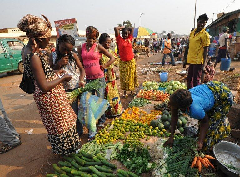 Women buy vegetables in a market in Bangui, Central African Republic last month. Global food prices fell by 7.0 percent in 2012 from the level the previous year, the UN's Food and Agriculture Organisation said on Thursday, assuaging worries a few months ago that the world could be heading for a food crisis