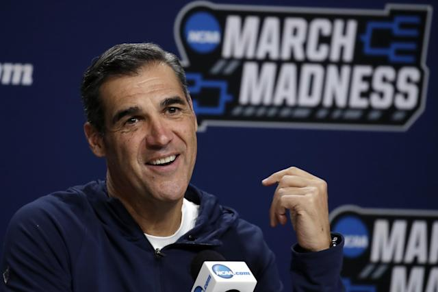 Villanova head coach Jay Wright speaks during a news conference at the men's college basketball NCAA Tournament, Friday, March 22, 2019, in Hartford, Conn. Villanova will play Purdue in the second round on Saturday. (AP Photo/Elise Amendola)