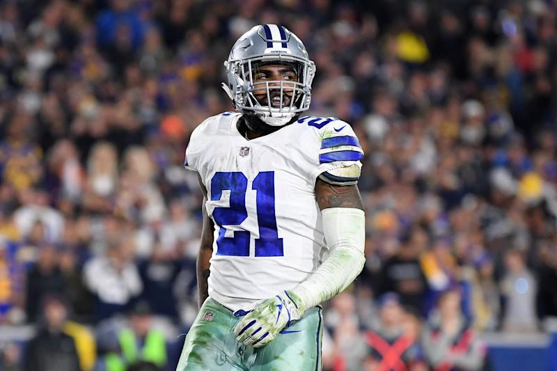 The security guard shoved by Ezekiel Elliott earlier this month wants a sincere apology from the Dallas Cowboys running back. (Getty Images)