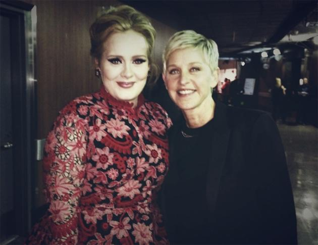 "Backstage at the Grammys 2013: Ellen DeGeneres is a massive Adele fan, so she couldn't wait to have her photo taken with the star. Ellen tweeted this photo alongside the caption: ""Rolling in the deep with Adele.' Copyright [Ellen DeGeneres]"