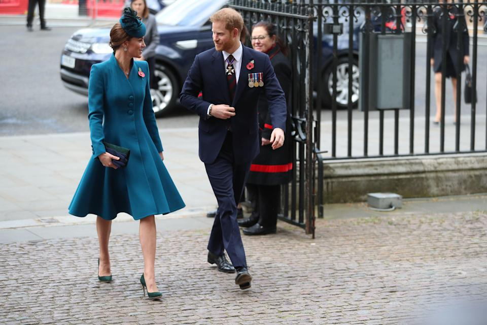 The Duchess of Cambridge and the Duke of Sussex arrive at the Anzac Day service at Westminster Abbey [Photo: PA]