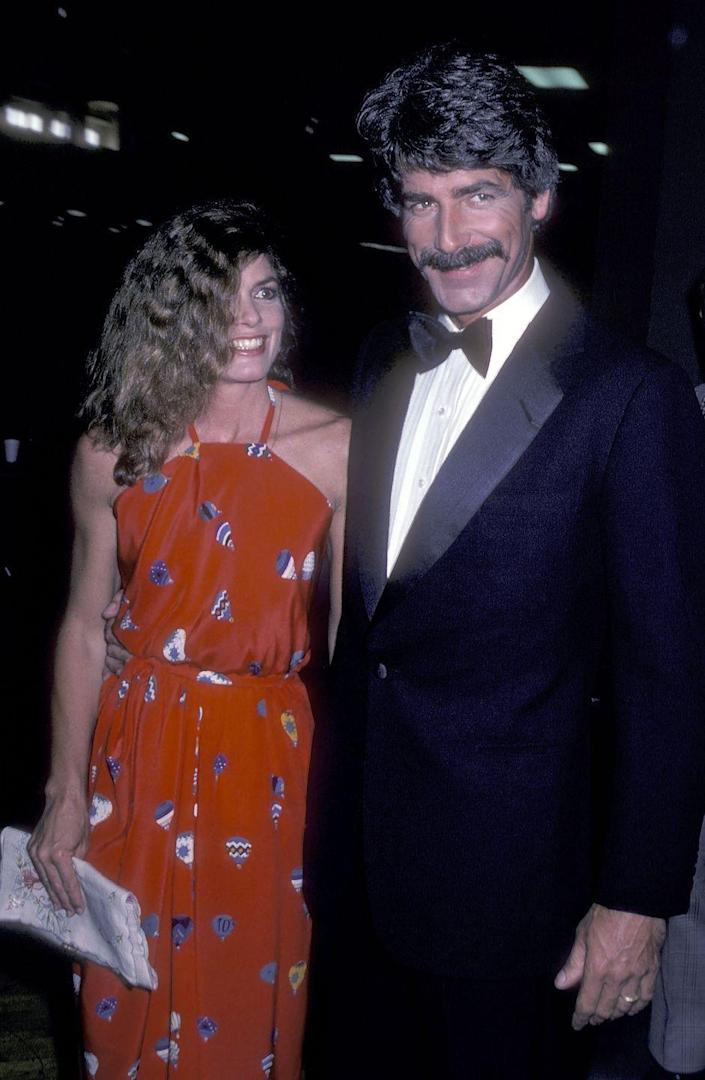 """<p><a href=""""https://www.countryliving.com/life/entertainment/a43924/sam-elliot-katharine-ross-love-story/"""" rel=""""nofollow noopener"""" target=""""_blank"""" data-ylk=""""slk:Elliott and his wife, Katharine Ross"""" class=""""link rapid-noclick-resp"""">Elliott and his wife, Katharine Ross</a>, attend the 16th Annual Academy of Country Music Awards on April 30, 1981 at the Shrine Auditorium in Los Angeles, California.</p>"""
