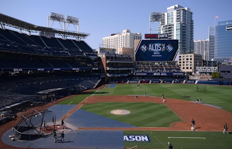 The Yankees work out prior to the 2020 ALDS against the Rays at Petco Park