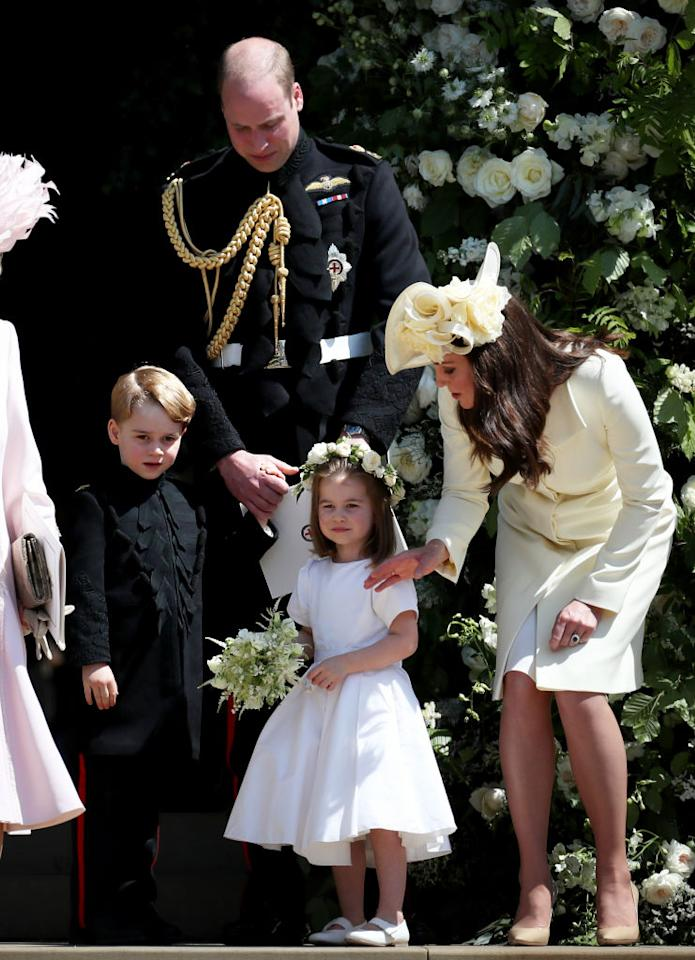 <p>For the Duke and Duchess of Sussex's royal wedding, Prince George wore a miniature version of the Blues and Royals frockcoat while Princess Charlotte took on the role of flower girl in a Givenchy number. <em>[Photo: Getty]</em> </p>