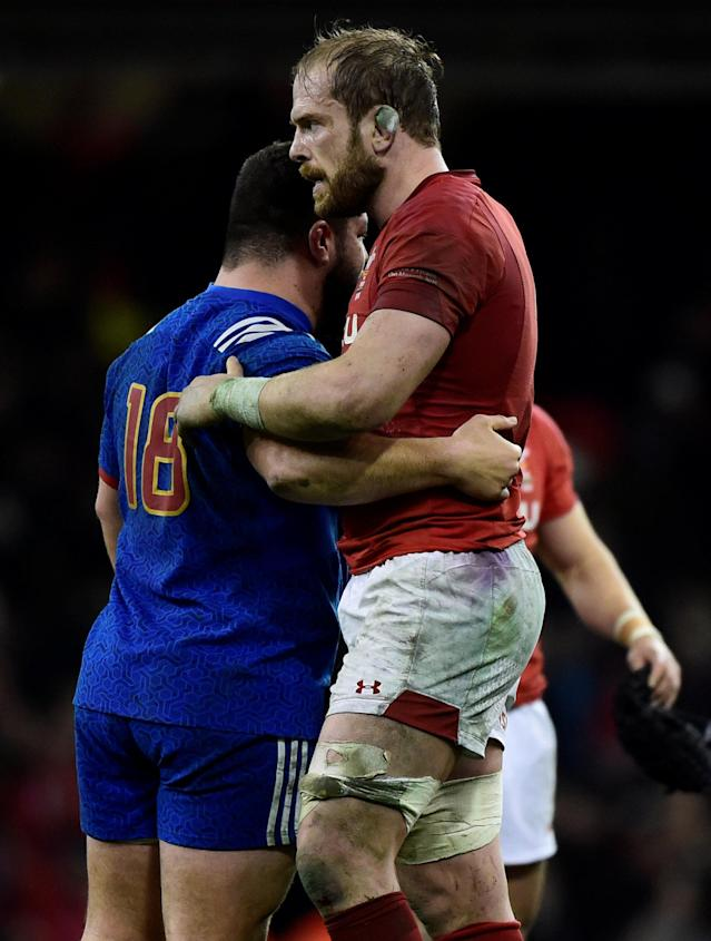 Rugby Union - Six Nations Championship - Wales vs France - Principality Stadium, Cardiff, Britain - March 17, 2018 Wales' Alun Wyn Jones and France's Rabah Slimani after the match REUTERS/Rebecca Naden